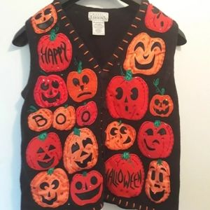 Basic Editions Halloween Sweater Vest Women's M